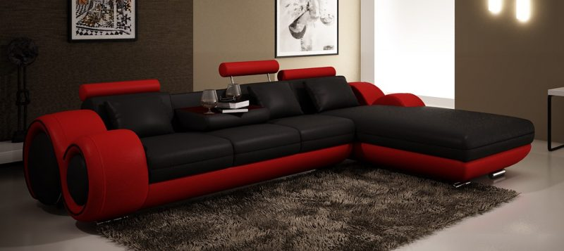 Fancy Homes Ruota-B chaise leather sofa in black and red