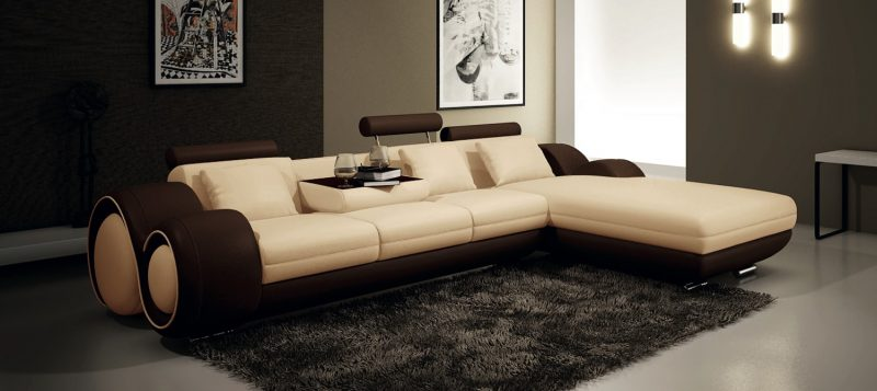 Fancy Homes Ruota-B chaise leather sofa in beige and brown leather