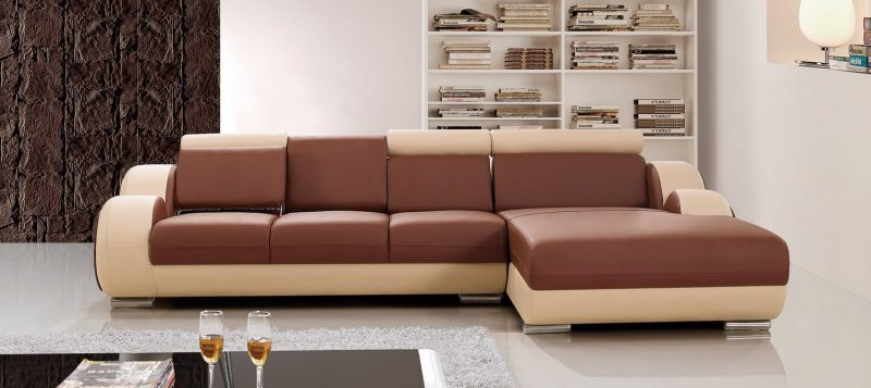 Fancy Homes Ruota-B chaise leather sofa in brown and beige leather