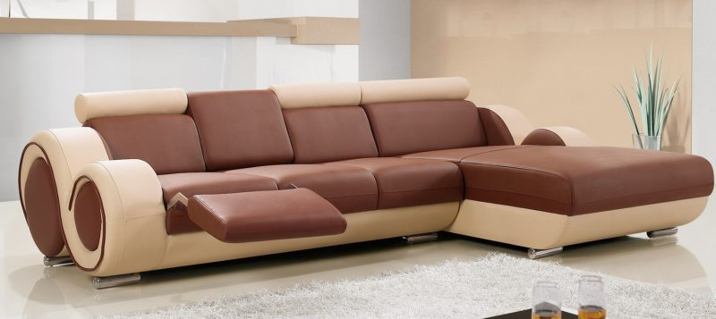 Fancy Homes Ruota-B chaise leather sofa in brown and beige leather with adjustable headrests, folding footrests and middle table