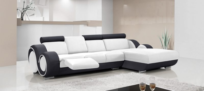 Fancy Homes Ruota-B chaise leather sofa in white and black leather