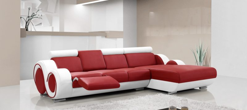 Fancy Homes Ruota-B chaise leather sofa in red and white leather
