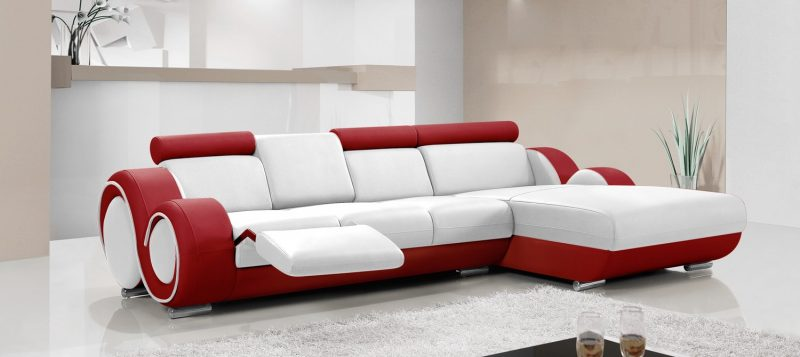 Fancy Homes Ruota-B chaise leather sofa in white and red leather