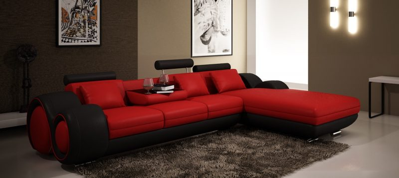 Fancy Homes Ruota-B chaise leather sofa in red and black leather
