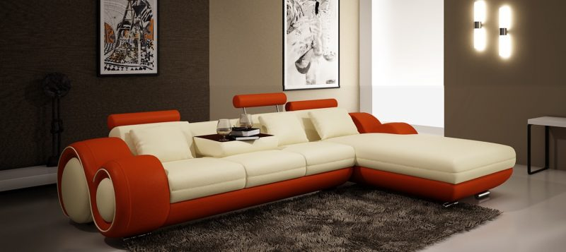 Fancy Homes Ruota-B chaise leather sofa in creamy white and orange leather