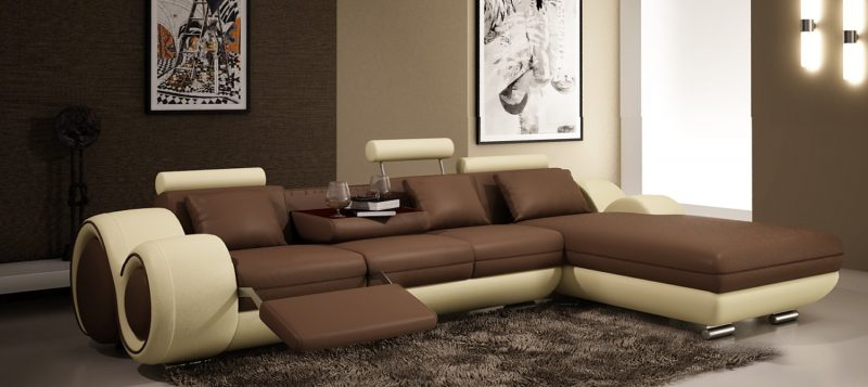 Fancy Homes Ruota-B chaise leather sofa in brown and beige leather with adjustable headrests, folding footrests and middle table with two cupholders