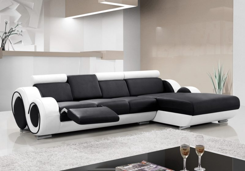 Fancy Homes Ruota-B chaise leather sofa in black and white leather with folding middle table and footrest