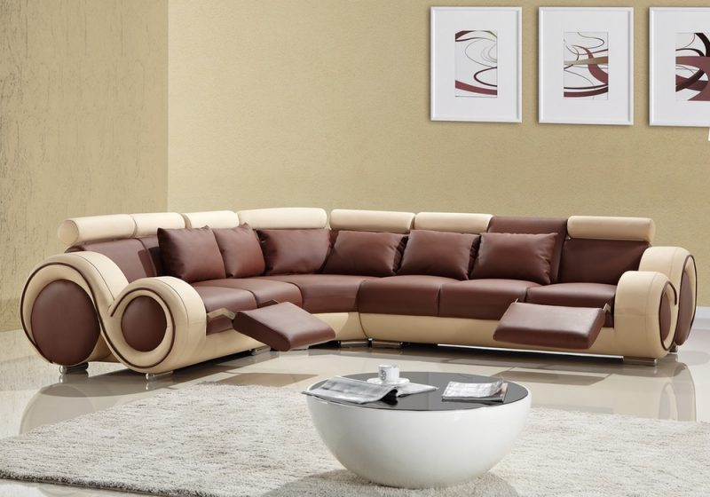 Fancy Homes Ruota-C corner leather sofa in brown and beige leather featuring folding footrests and coffee table