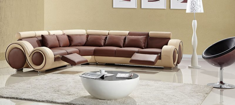 Fancy Homes Ruota-C corner leather sofa in brown and beige
