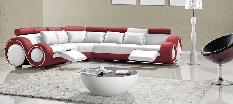 Fancy Homes Ruota-C corner leather sofa in white and red leather
