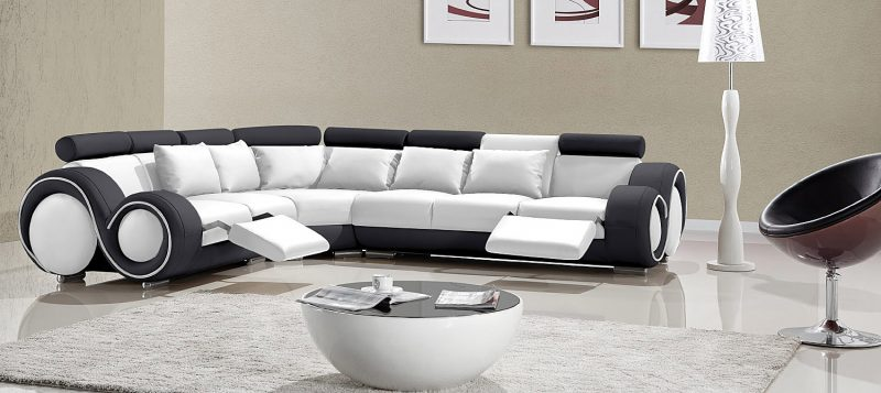 Fancy Homes Ruota-C corner leather sofa in white and black leather