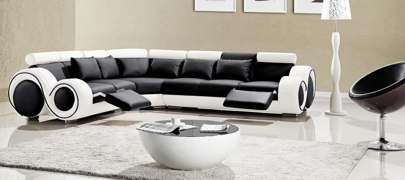 Fancy Homes Ruota-C modular leather sofa in black and white leather