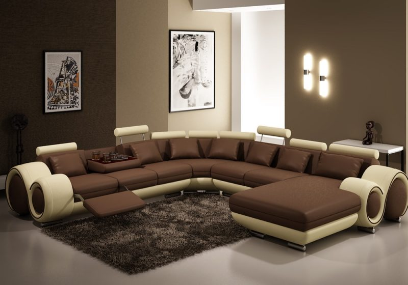 Fancy Homes Ruota-D modular leather sofa in brown and beige leather featuring folding coffee table and footrest