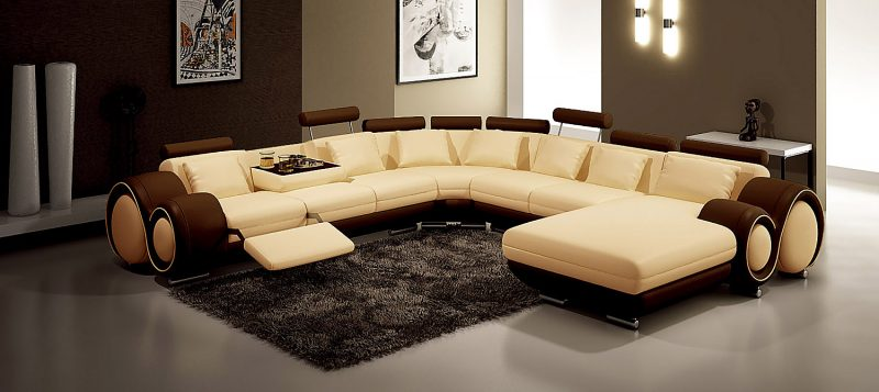 Fancy Homes Ruota-D modular leather sofa in beige and brown leather