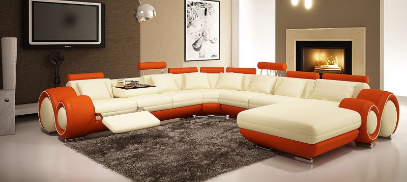 Fancy Homes Ruota-D modular leather sofa in creamy white and orange leather