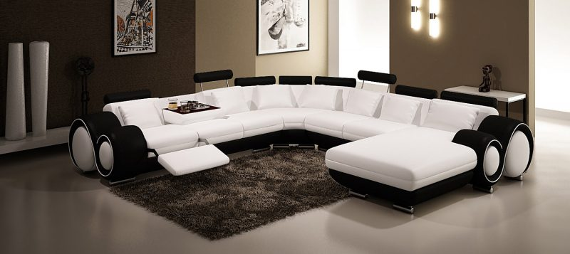 Fancy Homes Ruota-D modular leather sofa in white and black leather