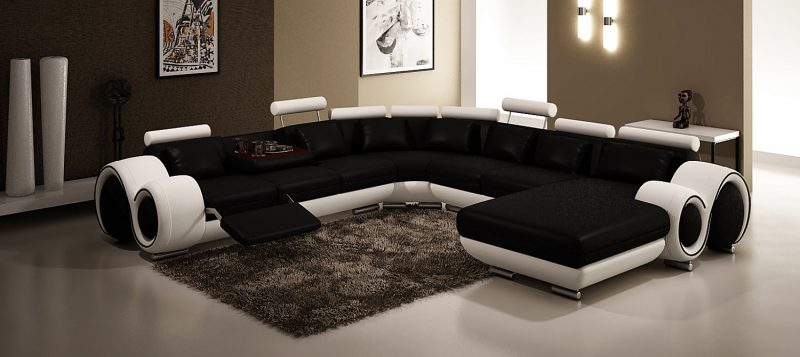 Fancy Homes Ruota-D modular leather sofa in black and white leather