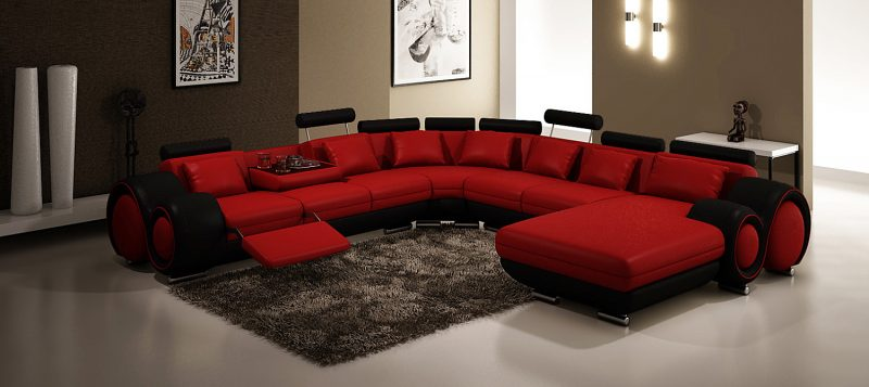 Fancy Homes Ruota-D modular leather sofa in red and black leather