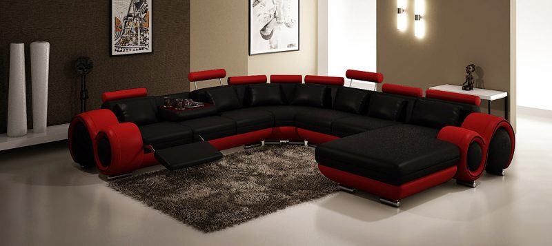 Fancy Homes Ruota-D modular leather sofa in black and red leather