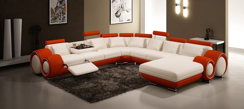 Fancy Homes Ruota-D modular leather sofa in white and red leather