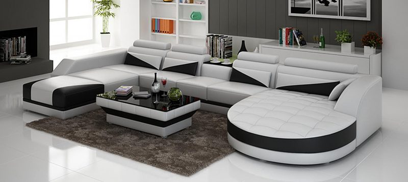Fancy Homes Savino modular leather sofa in white and black leather
