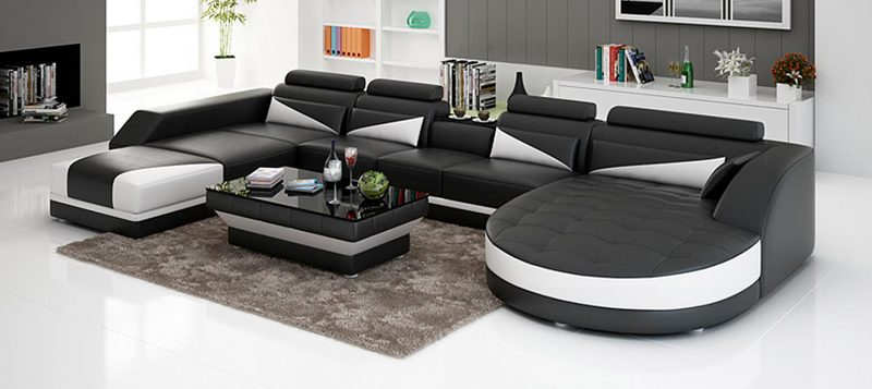 Fancy Homes Savino modular leather sofa in black and white leather
