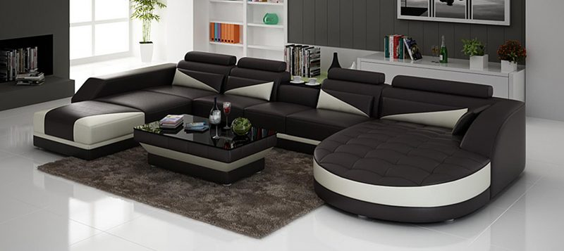 Fancy Homes Savino modular leather sofa in brown and white leather