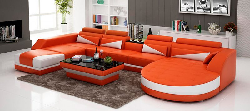 Fancy Homes Savino modular leather sofa in orange and white leather
