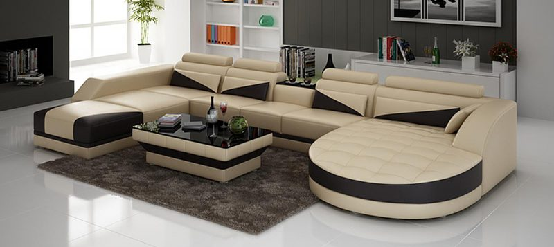 Fancy Homes Savino modular leather sofa in beige and black leather