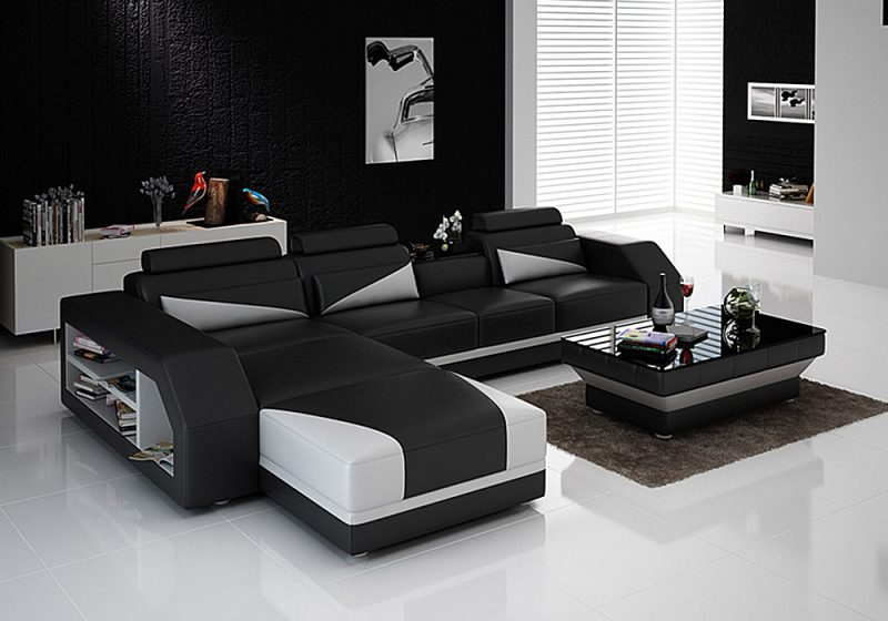 Fancy Homes Savino-B chaise leather sofa in black and white leather