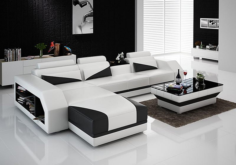 Fancy Homes Savino-B chaise leather sofa in white and black leather