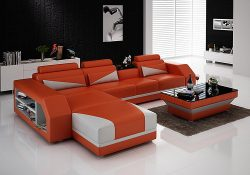 Fancy Homes Savino-B chaise leather sofa in orange and white leather