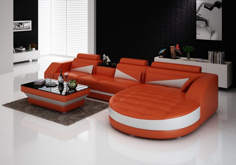 Fancy Homes Savino-C chaise leather sofa in orange and white leather