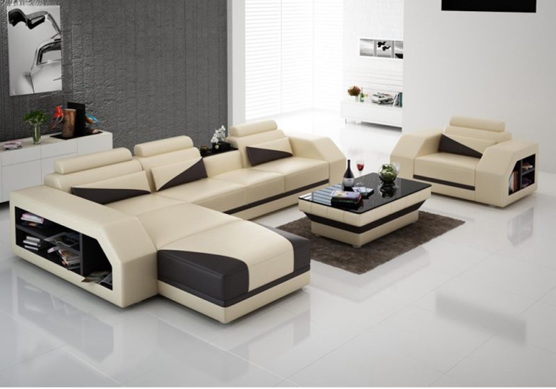 Fancy Homes Savino-F chaise leather sofa in beige and black leather