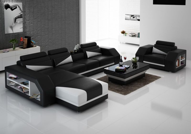 Fancy Homes Savino-F chaise leather sofa in black and white leather