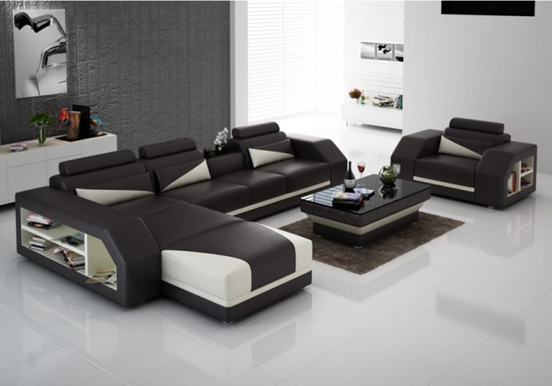 Fancy Homes Savino-F chaise leather sofa in brown and creamy white leather