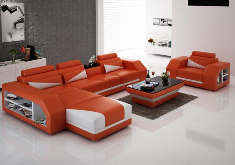 Fancy Homes Savino-F chaise leather sofa in orange and white leather