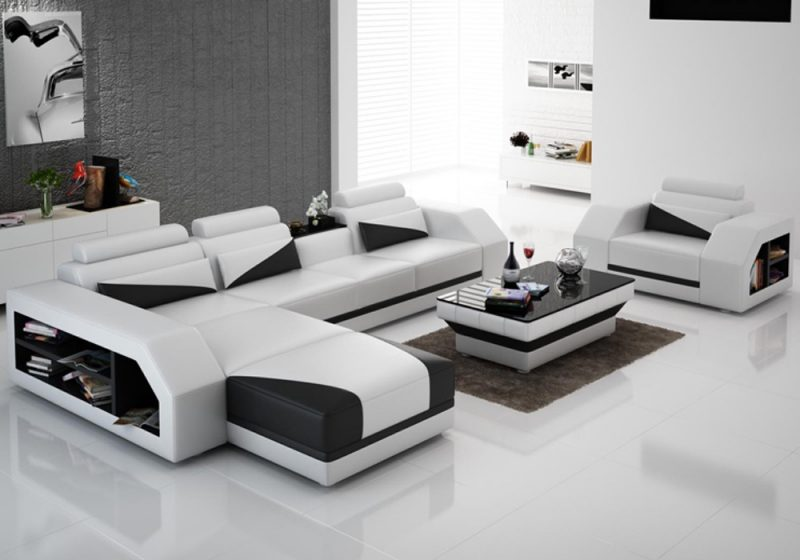 Fancy Homes Savino-F chaise leather sofa in white and black leather
