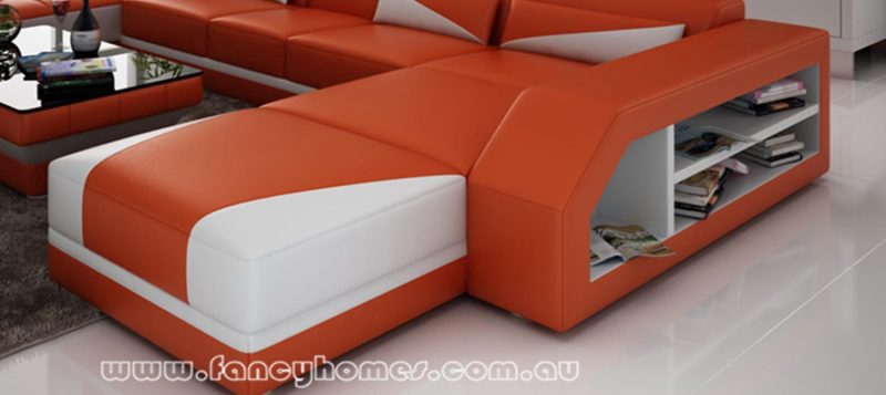 Fancy Homes Savino modular leather sofa features double chaise including a square chaise