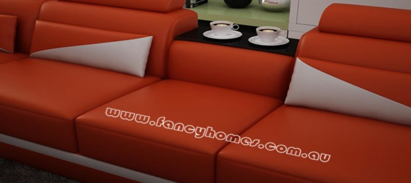 Fancy Homes Savino modular leather sofa features in-built middle table