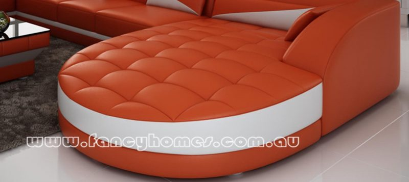 Fancy Homes Savino modular leather sofa features round chaise for ultimate relaxation