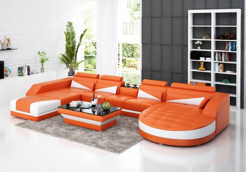 Fancy Homes Savino modular leather sofa in orange and white leather features round and square chaises, in-built middle table and adjustable headrests