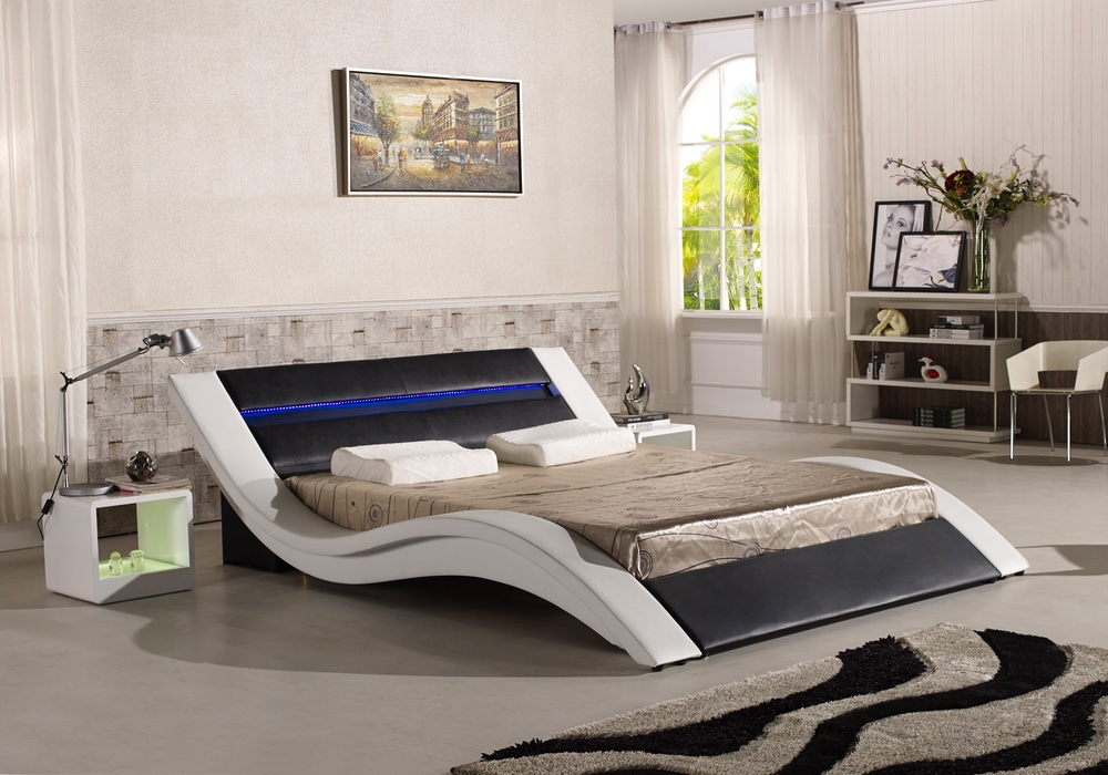 Silvia Italian Leather Bed Frame With Led Light Fancy Homes