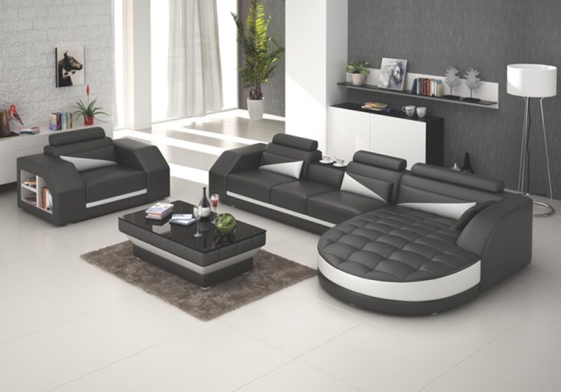 Fancy Homes Savino-E chaise leather sofa in black and white leather