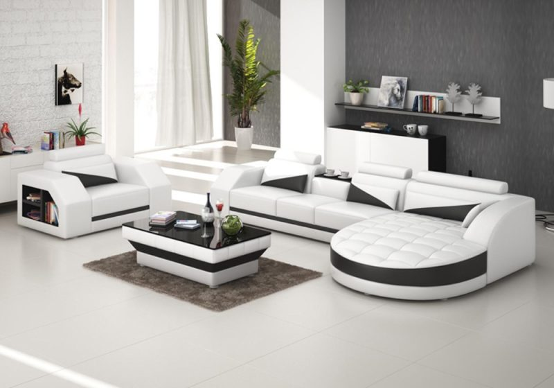 Fancy Homes Savino-E chaise leather sofa in white and black leather
