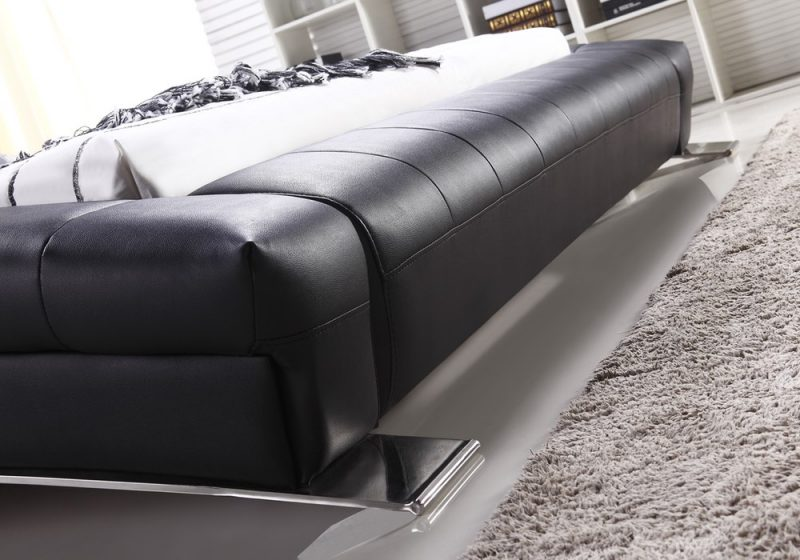 Fancy Homes Tad Leather Bed Frame, Leather Beds Bed End