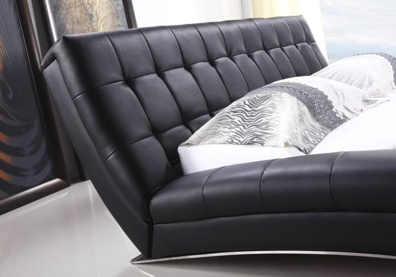 Fancy Homes Tad Leather Bed Frame, Leather Beds High-density Foam Bed Head