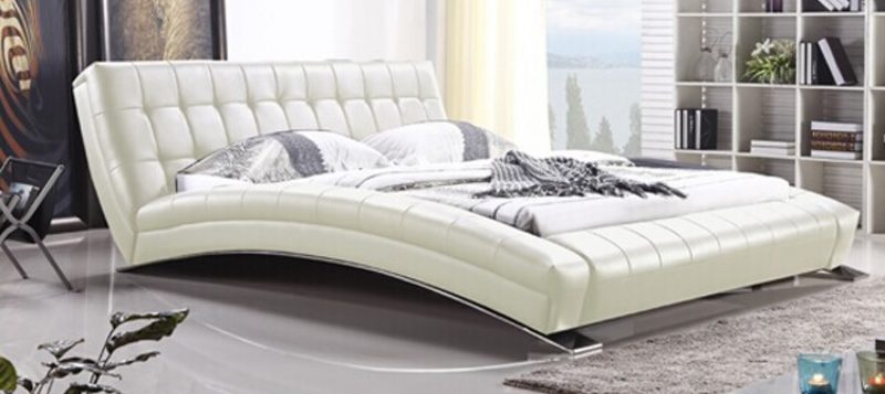 Fancy Homes Tad Leather Bed Frame, Leather Beds in Pure White