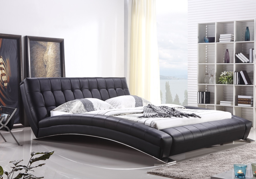 Tad Modern Designer Italian Leather Bed Frame Fancy Homes