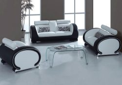 Fancy Homes Tammy lounges suites leather sofa in white and black leather